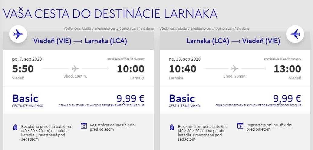 Larnaca z Viedne v septembrových termínoch s letenkami od 20 eur