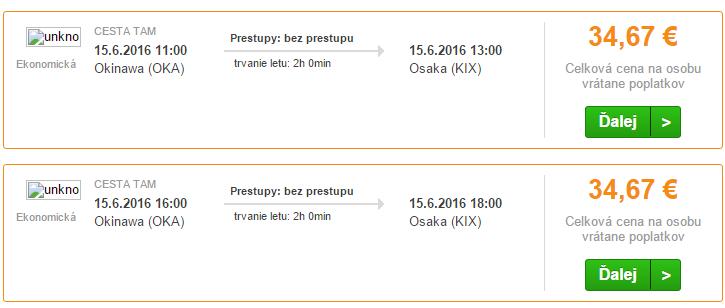 Letenky na trase Okinawa – Osaka od 35€.