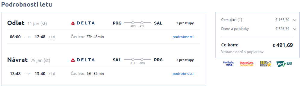 Letenky Praha San Salvador 491 eur
