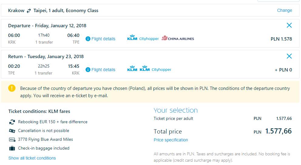 Letenky na Taiwan z Krakova od 372 eur