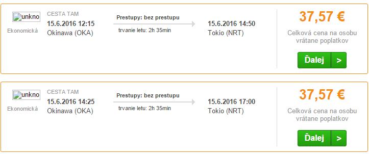 Letenky na trase Okinawa – Tokio od 38€.