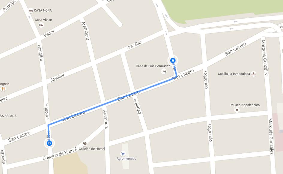 Mapka zobrazuje cestu z konečnej zastávky autobusu P-16 (bod A) až k hostelu (bod B)